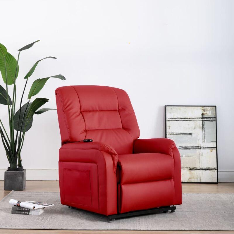 Elektrischer TV-Sessel mit Aufstehhilfe Rot Kunstleder - VIDAXL