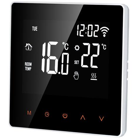 Elektro Heizthermostat WiFi Touchscreen-Steuerung APP 16A, wei? orange beleuchtete Tasten - boutons blancs r¨¦tro¨¦clair¨¦s orange
