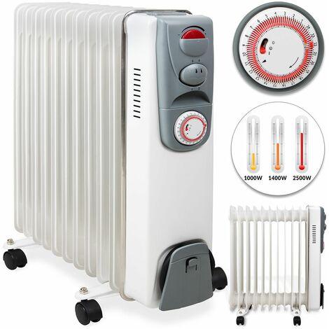 Elektroheizung Ölradiator Öl Radiator Heizer (3 Heizstufen bis 2500 Watt / 24h Timer / weiß / Kabelaufwicklung / 4 Räder / integrierter Griff)