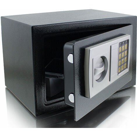 Elektronischer Möbeltresor Minitresor Wandtresor Wandsafe Schranktresor Maße(B/H/T): 310 mm x 200 mm x 220 mm - Türstärke: 3 mm schwarz