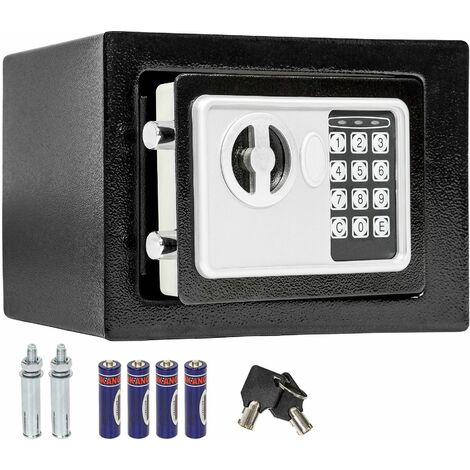 Elektronischer Safe Tresor mit Schlüssel inkl. Batterien - Tresor, Möbeltresor, Minisafe - schwarz