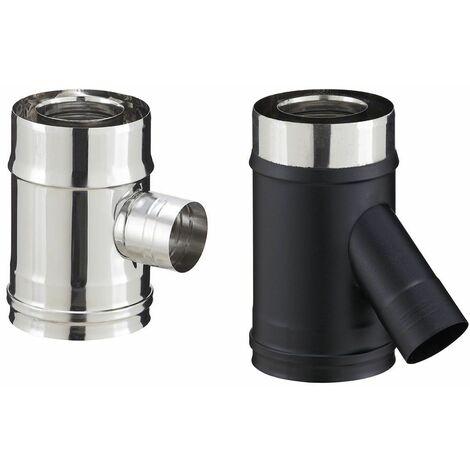 Elément droit inox avec prise d'air pour poêle à granulés - PGI pour poêles à Pellets - Diamètre 80/130 avec prise d'air à 135° - Finition : Noir mat