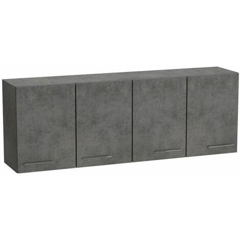 Elément meuble pont 4 portes SMART largeur 170 cm coloris gris béton - gris
