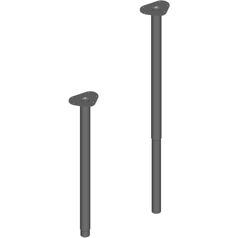 Element System, Set da 4 gambe cilindriche telescopiche per tavolo, regolabili, incl. Piastra di ancoraggio, 80 120 cm, ø 50 mm, 11133 00600, Nero
