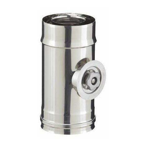 Elément trappe de visite inox pour poêle à granulés - PGI pour poêles à Pellets - Diamètre 80/130 - Finition : Inox