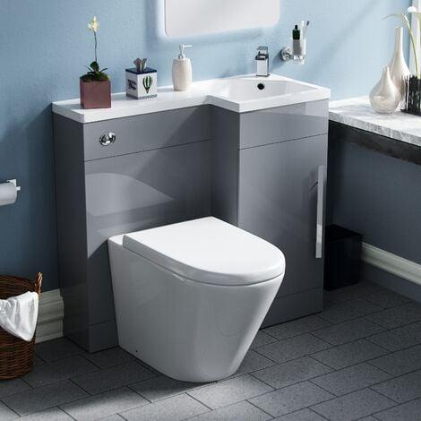 Elen 900 Light Grey Basin WC Vanity Unit with Toilet