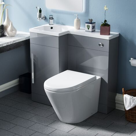 Elen 900mm Light Grey LH WC Basin Vanity Unit and Toilet