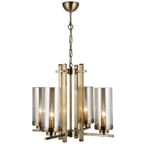 Elenora Chandelier - Hanging lamp - Ceiling lamp - Copper made of Metal, Glass, 53 x 53 x 86 cm, 4 x E14, 40 W