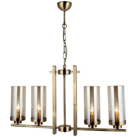Elenora Chandelier - Hanging lamp - Ceiling lamp - Copper made of Metal, Glass, 76 x 76 x 86 cm, 4 x E14, 40 W