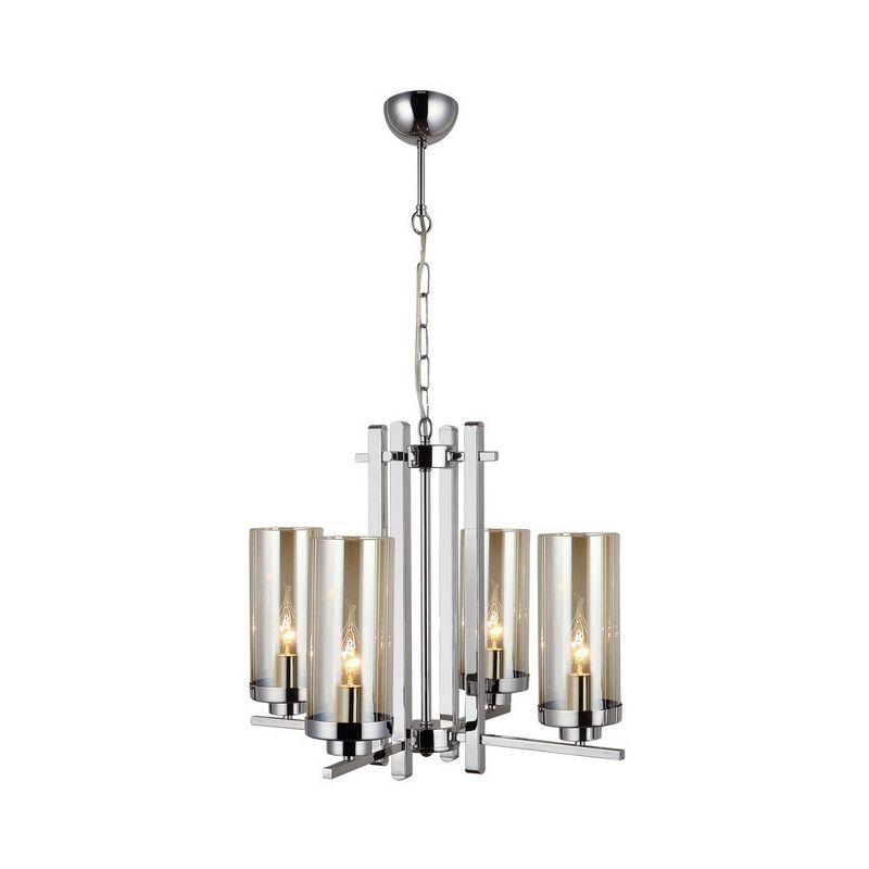 Homemania - Elenora Kronleuchter - Haengeleuchte - Deckenleuchte - Chrom aus Metall, Glas, 53 x 53 x 86 cm, 4 x E14, 40 W