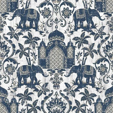 Elephant Taj Mahal Floral Wallpaper Trees Blue White Gold Metallic Paste Wall