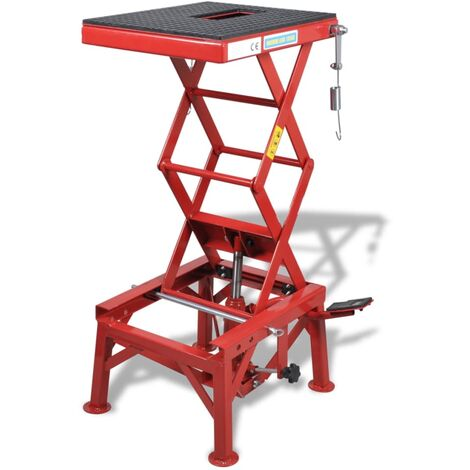 Elevador de moto 150 kg pedal, barra de bloqueo y válvula rojo
