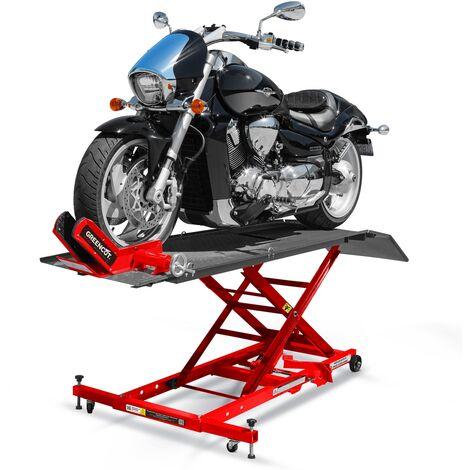 Elevador hidraulico de motos 450kg tipo tijera con rampa y ruedas -GREENCUT