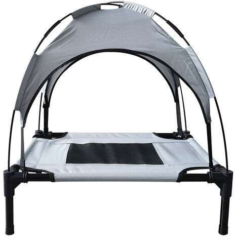 """main image of """"Elevated Dog Bed with Canopy Outdoor Pet Cot Portable Sunshade Pet Tent Cooling Bed for Dogs Cats Camping Beach, L,model:Grey L"""""""