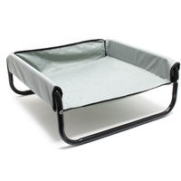 Elevated dog bed with side walls Outdoor pet bed portable waterproof grey 70x70x28cm