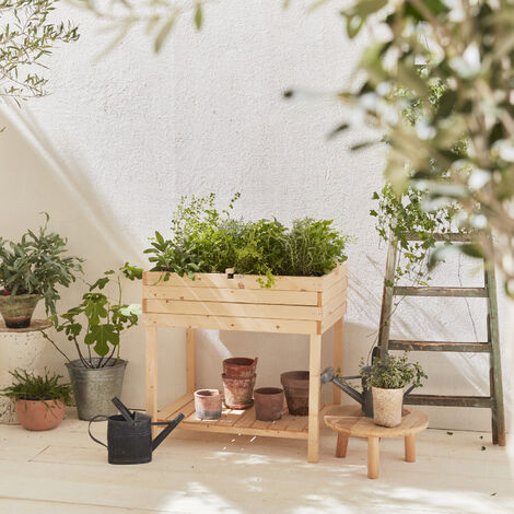 Elevated Wooden Planter, Square Garden Bed, 80x60 - Anémone - dry wood, finnish spruce