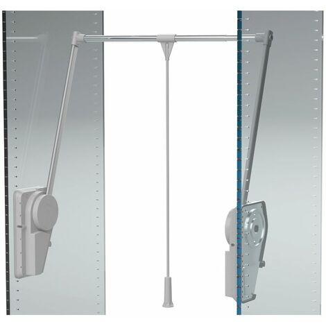 Élévateur de penderie double à charge réglable - Charge maxi : 20 kg - Charge mini : 14 kg - Décor : Gris alu - Décor tube : Chromé - Fixation : Latérale - Hauteur : 910 mm - Largeur maxi : 1150 mm - - Décor tube : Chromé
