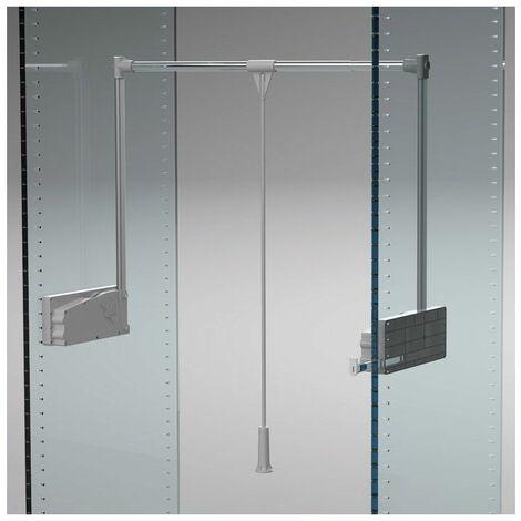 Elévateur de penderie double - Charge : 10 kg - Décor : Gris alu - Décor tube : Chromé - Hauteur : 910 mm - Largeur maxi : 1150 mm - Largeur mini : 750 mm - Matériau : Acier / Nylon - Profondeur : 28 - Hauteur : 910 mm