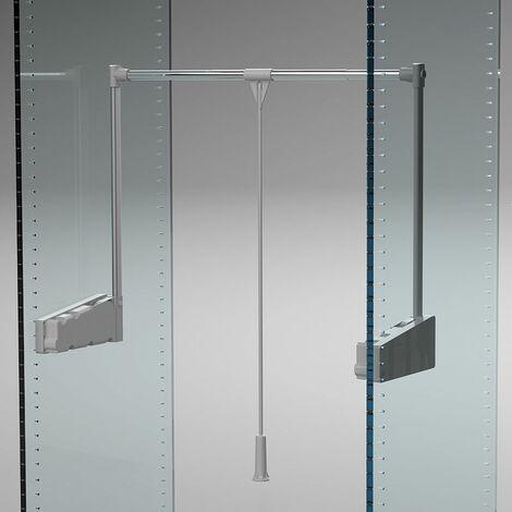 Élévateur de penderie lift 300 - Décor tube : Chromé - Profondeur : 270 mm - Largeur maxi : 1150 mm - Largeur mini : 750 mm - Décor : Aluminium - Matériau : Acier / Nylon - Charge : 10 kg - Hauteur : - Largeur mini : 750 mm