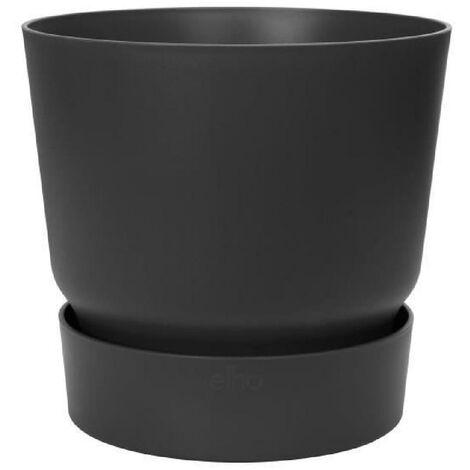 ELHO Pot de fleurs rond Greenville 25 - Extérieur - Ø 24.48 x H 23.31 cm - Vivre noir