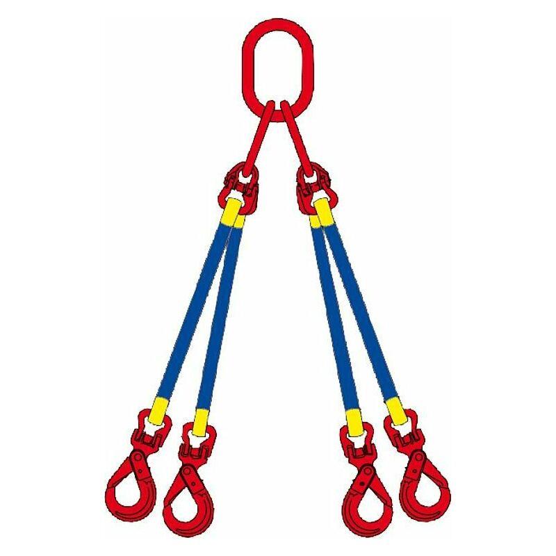 Eliingue cable 4 brins, 2,1, 45° avec mousqueton, 1 m