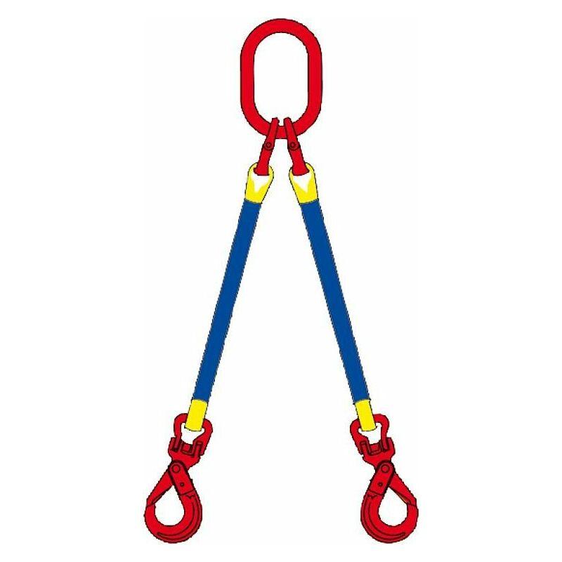 Banyo - Elingue cable 2 brins, 2,1t, 45° avec mousqueton, 1m