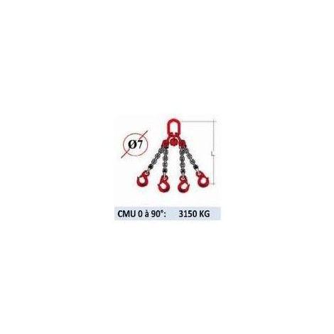 Elingue chaine 4 brins - crochets à linguet - CMU 3150 kg (classe 80) - plusieurs modèles