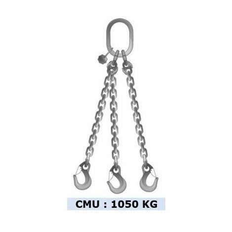 Elingue chaîne inox 3 brins - CMU 1050 kg - Longueur : 2M