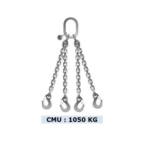 Elingue chaîne inox 4 brins - CMU 1050 kg - Longueur : 2M