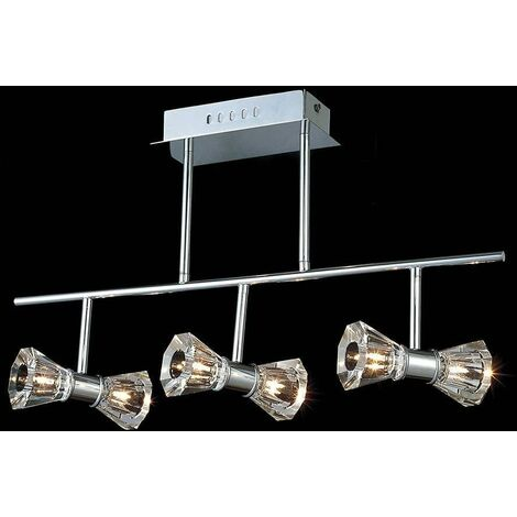 Elisa Bar 6-Light Semi-Polished Chrome Ceiling Light
