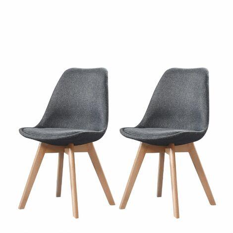 ELISA - Lot de 2 chaises scandinave - Tissu - Gris foncé - pieds en bois massif design salle a manger salon - 53 x 49 x 82 cm - Gris Foncé