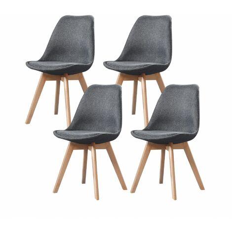 ELISA - Lot de 4 chaises scandinave - Tissu - Noir - pieds en bois massif design salle a manger salon - 53 x 49 x 82 cm - Noir