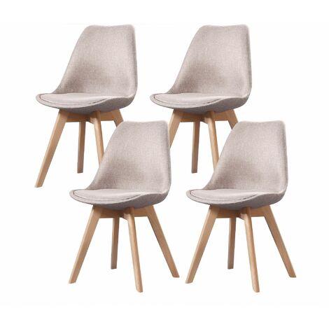 ELISA - Lot de 4 chaises scandinave - Tissu - Taupe - pieds en bois massif design salle a manger salon - 53 x 49 x 82 cm - Taupe