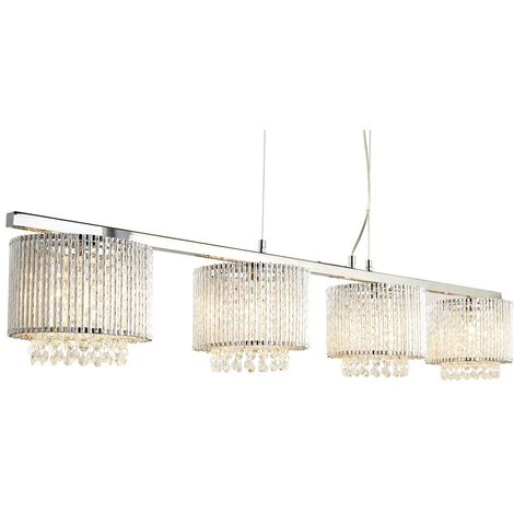 ELISE 4 LIGHT CEILING BAR, CLEAR CRYSTAL DROPS, ALUMINIUM TUBES TRIM, CHROME