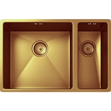 Elite 1.5 Bowl Inset or Undermounted Stainless Steel Kitchen Sink & Wastes - Over Size: 670x440x200mm - Copper Finish