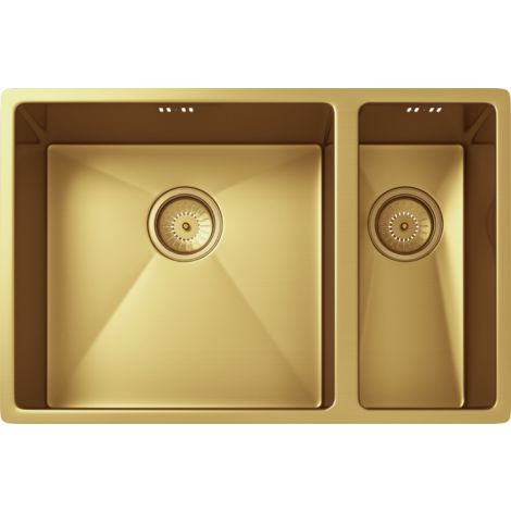 Elite 1.5 Bowl Inset or Undermounted Stainless Steel Kitchen Sink & Wastes - Over Size: 670x440x200mm - Gold Finish