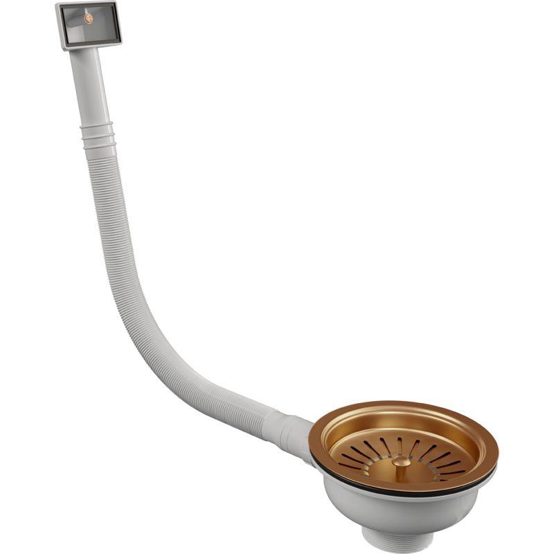 Image of Ellsi - Elite Basket strainer with Rectangular overflow - Copper Finish