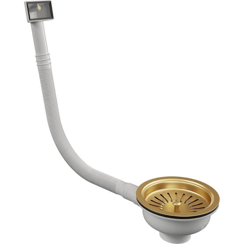 Image of Ellsi - Elite Basket strainer with Rectangular overflow - Gold Finish