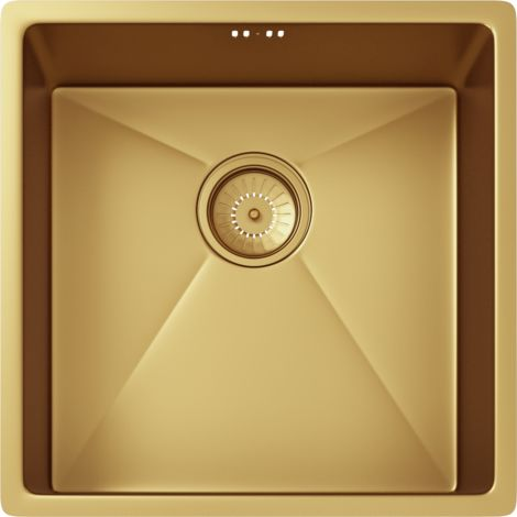 Elite Single Bowl Inset or Undermounted Stainless Steel Kitchen Sink & Waste - Over Size: 440x440x205mm - Gold Finish
