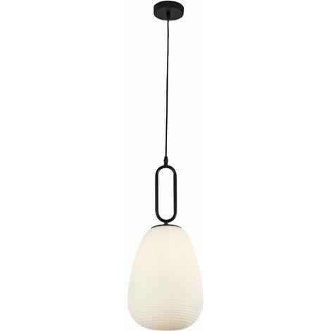 Elixir 1-light ribbed glass pendant light, opal glass, black