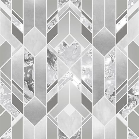 Elixir Geometric Marble Wallpaper Grey Silver Metallic YöL Vinyl Modern