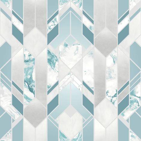 Elixir Geometric Marble Wallpaper Teal Silver Metallic YöL Vinyl Modern