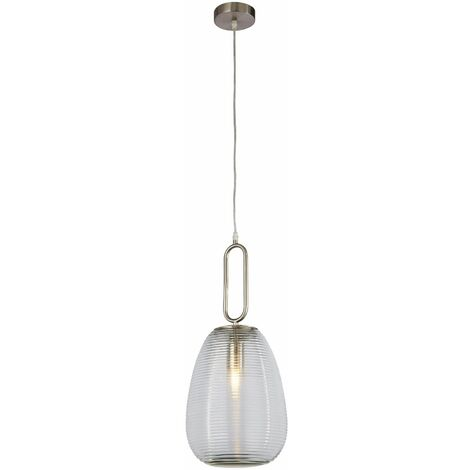 Elixir ribbed glass pendant light, 1 bulb, clear glass, satin nickel