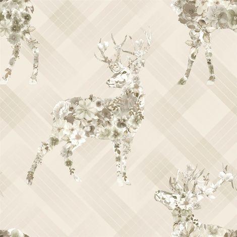 Elk Floral Check Wallpaper Stag Tartan Flowers Animal Print Beige Holden Decor