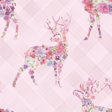 Elk Floral Check Wallpaper Stag Tartan Flowers Animal Print Pink Lilac Holden
