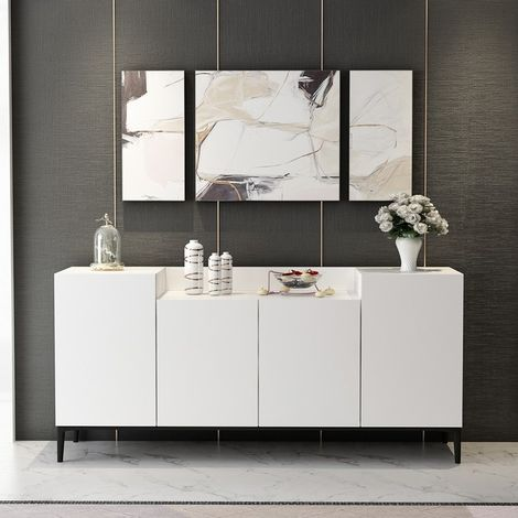 Ellaria Multiuse Cabinet - with Doors - for Living Room, Bedroom, Hall - White, made in Wood, 160 x 42 x 75 cm