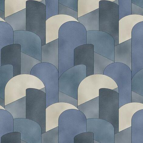 Elle Geometric Wallpaper Navy Cream Glitter Erismann Paste The Wall Vinyl