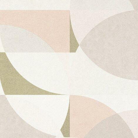 Elle Geometric Wallpaper Pink White Grey Erismann Paste The Wall Vinyl