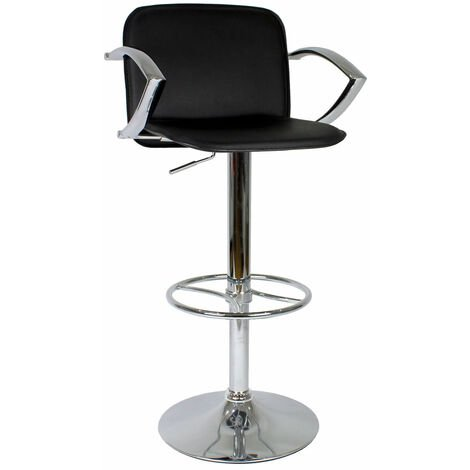 Ellen Manager Bar Stool Black Faux Leather Black