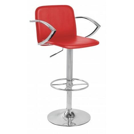 Ellen Manager Bar Stool Red Faux Leather Red